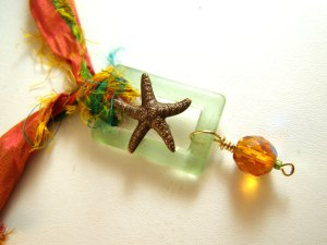 Starfish necklace made with 2011 Bead Soup items.
